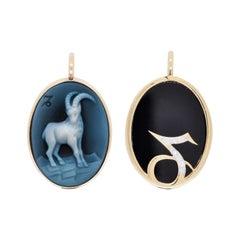 14 Karat Gold Reversible Capricorn Cameo Zodiac Diamond Pendant Necklace