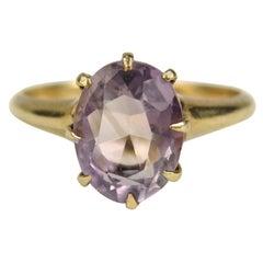 14 Karat Gold Ring Amethyst Claw Set Victorian