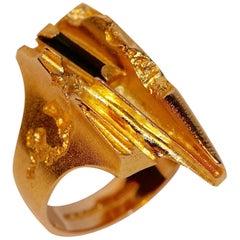 14 Karat Gold Ring Lapponia Design Björn Weckström with Tourmaline