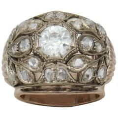 14 Karat Gold Ring, Old Cut Diamond 1.40 Ct