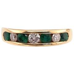 14 Karat Gold Ring or Wedding Band Seven-Stones Emerald and Diamond .36TDW