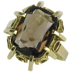 14 Karat Gold Ring Smokey Quartz Midcentury, 1950s