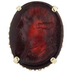 14 Karat Gold Ring with Tassie Glass Intaglio Depicting George III
