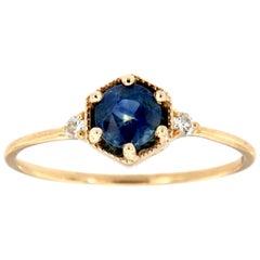 14 Karat Gold Round Blue Sapphire Vintage Rustic Diamond Ring 'Center-1/2 Carat'