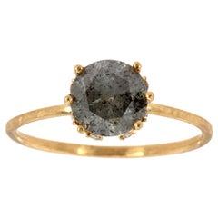 14 Karat Gold Round Salt and Pepper Diamond Solitaire Ring 'Center-1.22 Carat'