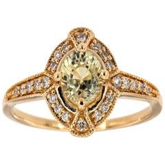14 Karat Gold Round Yellow Sapphire Halo Vintage Diamond Ring Center-4/5 Carat