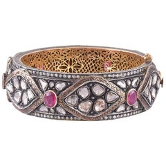 14 Karat Gold Ruby Diamond Bangle