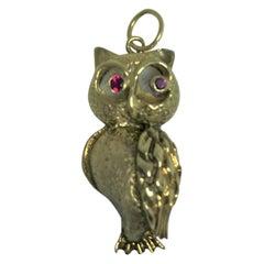 14 Karat Gold Ruby Owl Charm