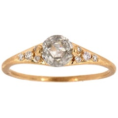 14 Karat Gold Rustic Salt and Pepper Rose Cut Diamond Ring 'Center-0.65 Carat'