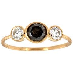 14 Karat Gold Rustic Salt and Pepper Trilogy Diamond Ring 'Center-0.48 Carat'