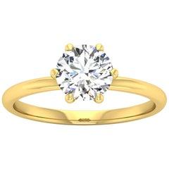 14 Karat Gold Six Prong Solitaire 1 Carat Round Brilliant Diamond H VS2 GIA