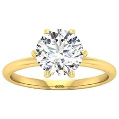 14 Karat Gold Six Prong Solitaire 2 Carat Round Brilliant Diamond H VS2 GIA