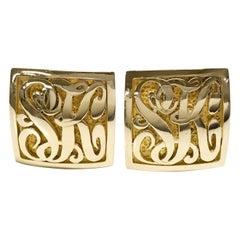 14 Karat Gold SK Monogrammed Cufflinks