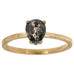 14 Karat Gold Solitare Pear Salt and Pepper Diamond Ring Center 1.12 Carat