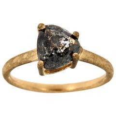 14 Karat Gold Solitare Trilliant Salt and Pepper Diamond Ring Enter, 2.04 Carat