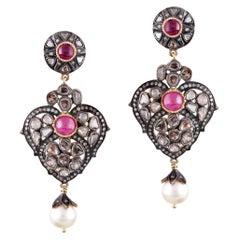 14 Karat Gold South Sea Pearl Diamond Earrings