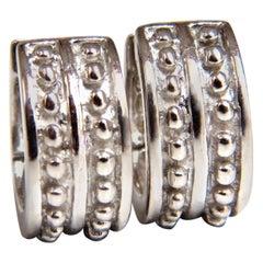 14 Karat Gold Spanish Revival or Gothic Stud Bead Deco Huggie Clip Earrings