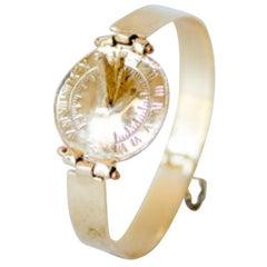 14 Karat Gold Sundial Watch Bracelet by L'Enchanteur