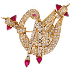 14 Karat Gold Swan-Shaped Brooch/Pendant with Diamonds and Rubies