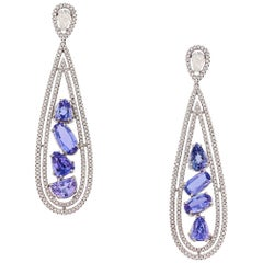 14 Karat Gold Tanzanite and Diamond Earrings