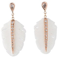14 Karat Gold Teardrop Diamond White Feather Drop Stud Earrings