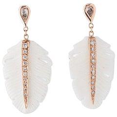 14 Karat Gold Teardrop Diamond White Feather Drop Stud Earrings