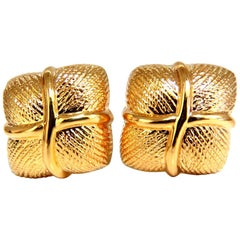 14 Karat Gold Textured Clip Earrings
