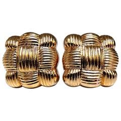 14 Karat Gold Textured Cross Weave Clip Earrings