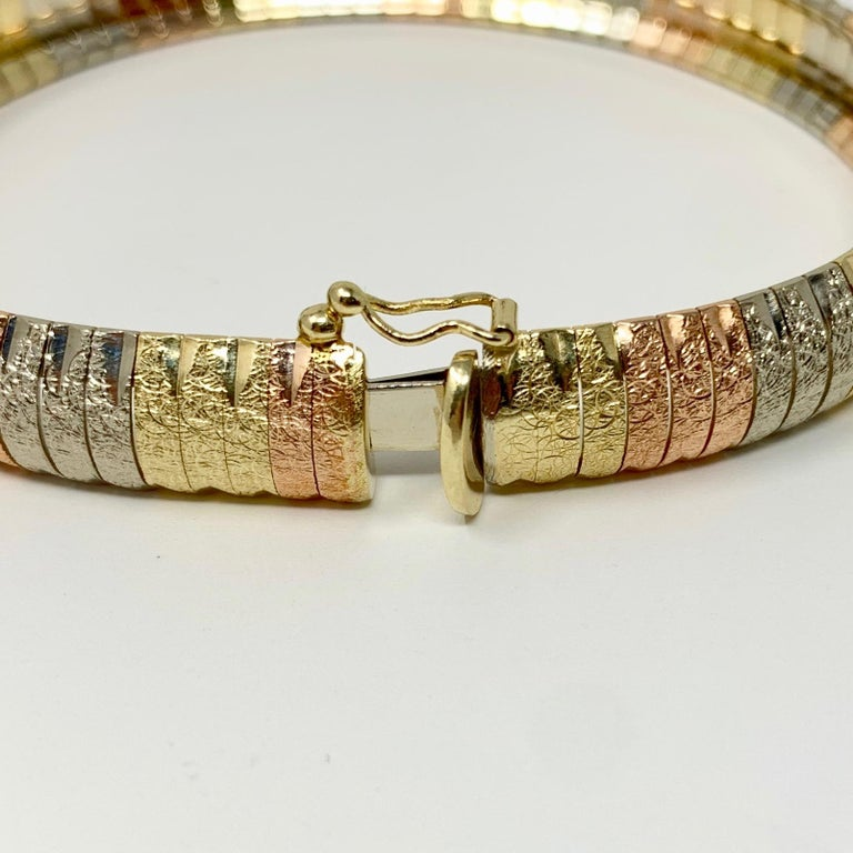14 Karat Gold Tri Tone Omega Link Milor Chain Bracelet For Sale 1