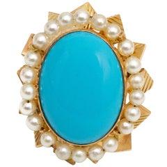 14 Karat Gold, Turquoise and Diamond Ring