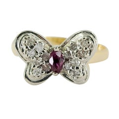 14 Karat Gold Two-Tone Butterfly Ring with Ruby & Diamonds