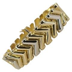 14 Karat Gold Two-Tone Wide Chevron Bracelet