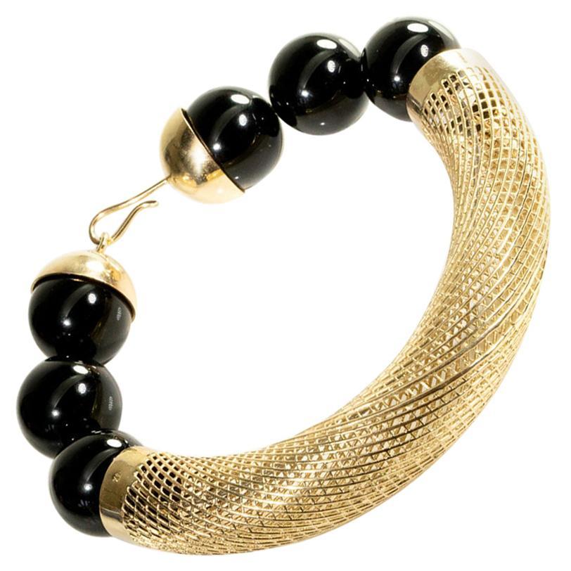 14 Karat Gold Unique Bracelet, Onyx beads