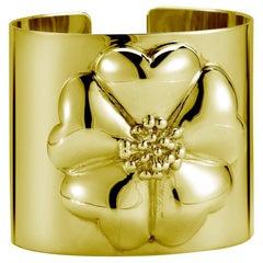 24 Karat Gold Vermeil Blossom Large Cuff Bracelet