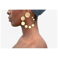 Made by Malyia 14 Karat Gold Vermeil Progression Disk Hoop Earring