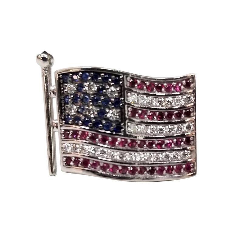 "14 Karat Gold Waving ""American Flag"" Pin with Diamonds, Rubies and Sapphires"