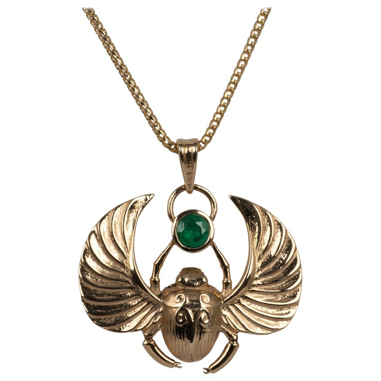 14 Karat Gold Winged Scarab Beetle Pendant Necklace Natural Certified Emerald For Sale