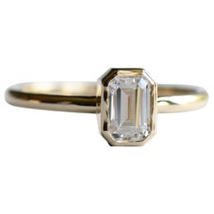 14 Karat Gold with 0.5 Carat Emerald Cut Diamond Solitaire Ring, Engagement Ring