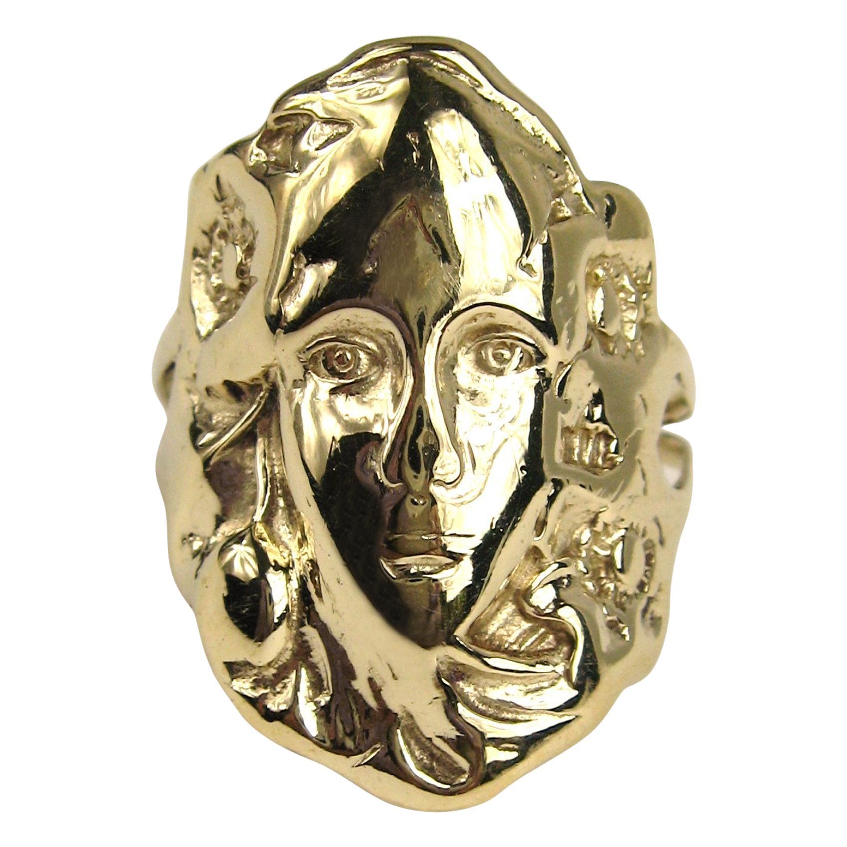 14 Karat Gold Woman's Face Portrait Ring