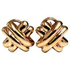 14 Karat Gold X Clip Earrings Classic