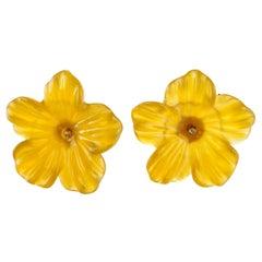 14 Karat Gold Yellow Agate Flower Handmade Italian Girl Carved Stud Earrings