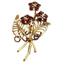 14 Karat Golden Flower Brooch Set with Natural Garnet, Holland, 1950