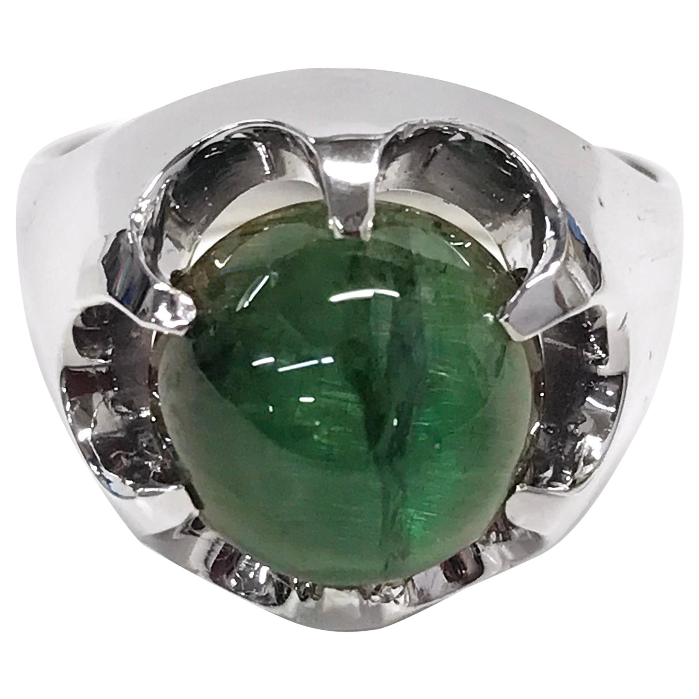 14 Karat Green Cat's Eye Tourmaline Cocktail Ring