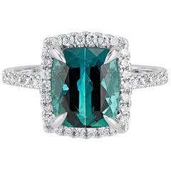 14 Karat Green Cushion Cut Tourmaline Diamond Halo Ring