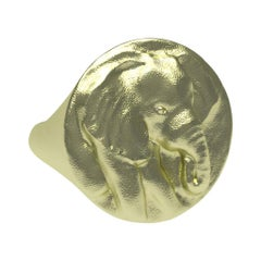 14 Karat Green Gold Elephant Signet Ring