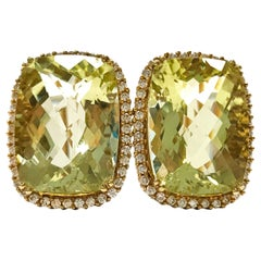 14 Karat Green Topaz Diamonds Earrings