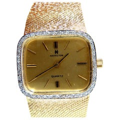 14 Karat Hamilton Men's Gold Watch .36 Diamonds