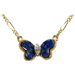 14 Karat Hammerman Brothers Diamond Lapis Lazuli Butterfly Necklace Yellow Gold