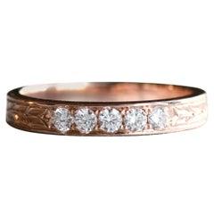 14 Karat Hand Engraved Diamond Rose Gold Band