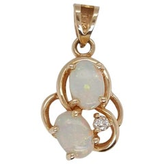 14 Karat Hand Etched Victorian Opal Pendant with Diamond Accents